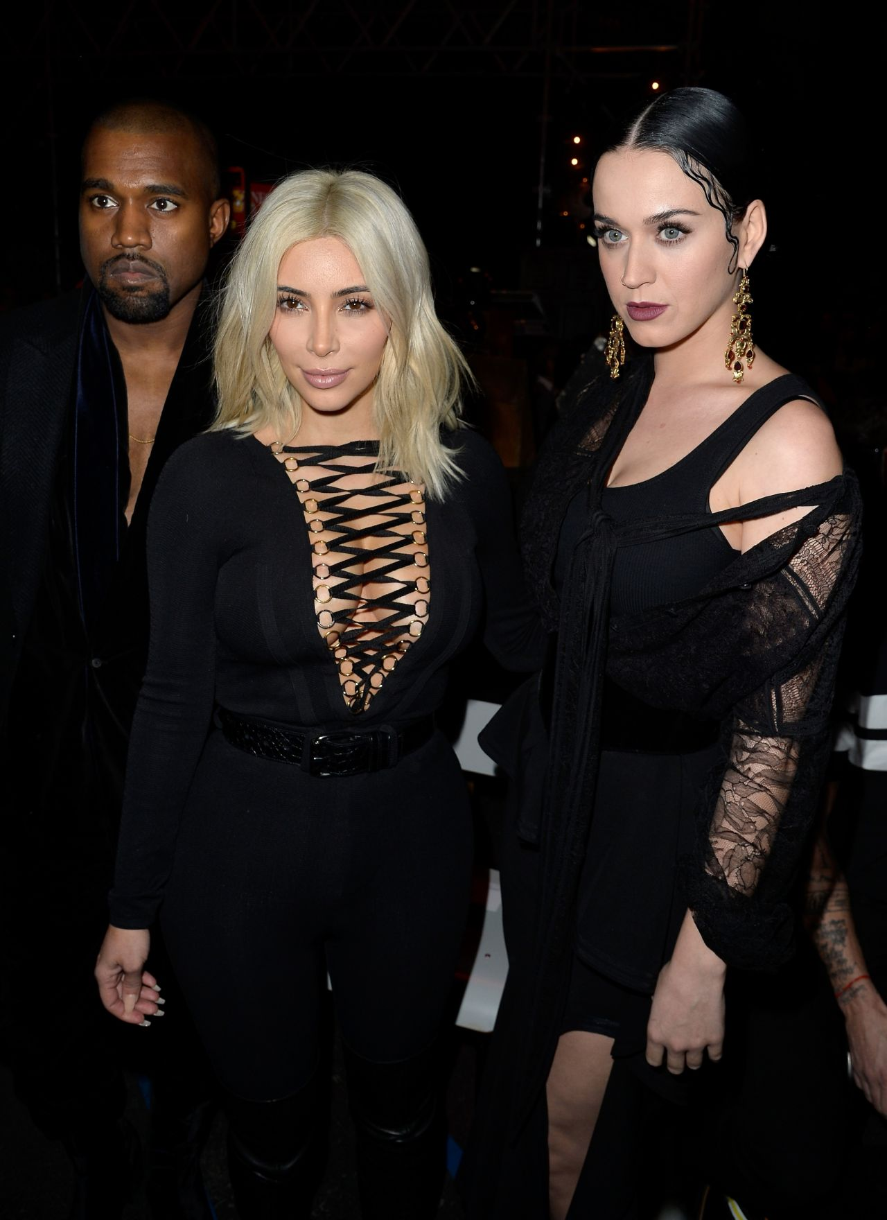 Kanye ,Katy Perry & Kim Kardashian – Givenchy Fashion Show in Paris, March 2015