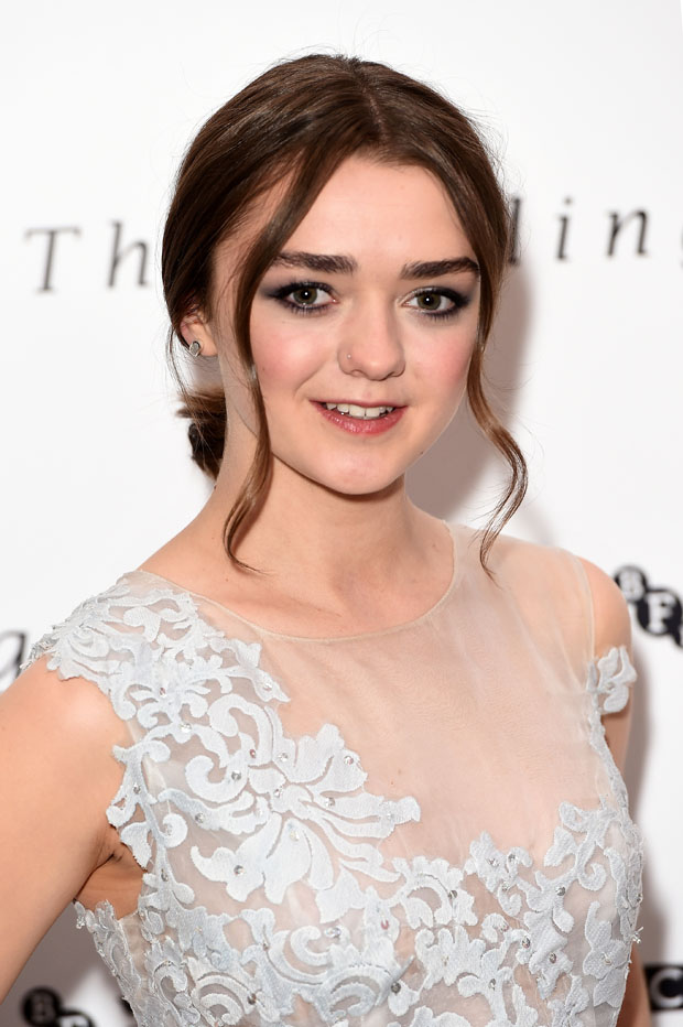 "LONDON, ENGLAND - APRIL 20: Actress Maisie Williams attends the London gala screening of ""The Falling"" at Ham Yard Hotel on April 20, 2015 in London, England. (Photo by Ian Gavan/Getty Images)"