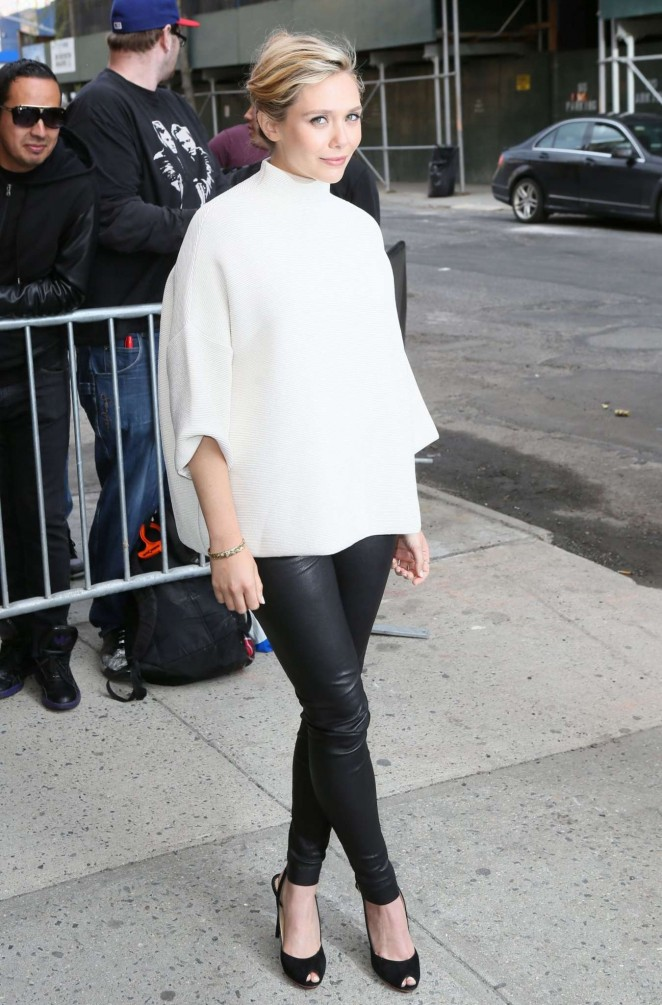 Elizabeth-Olsen--Arriving-at-The-Daily-Show-with-Jon-Stewart