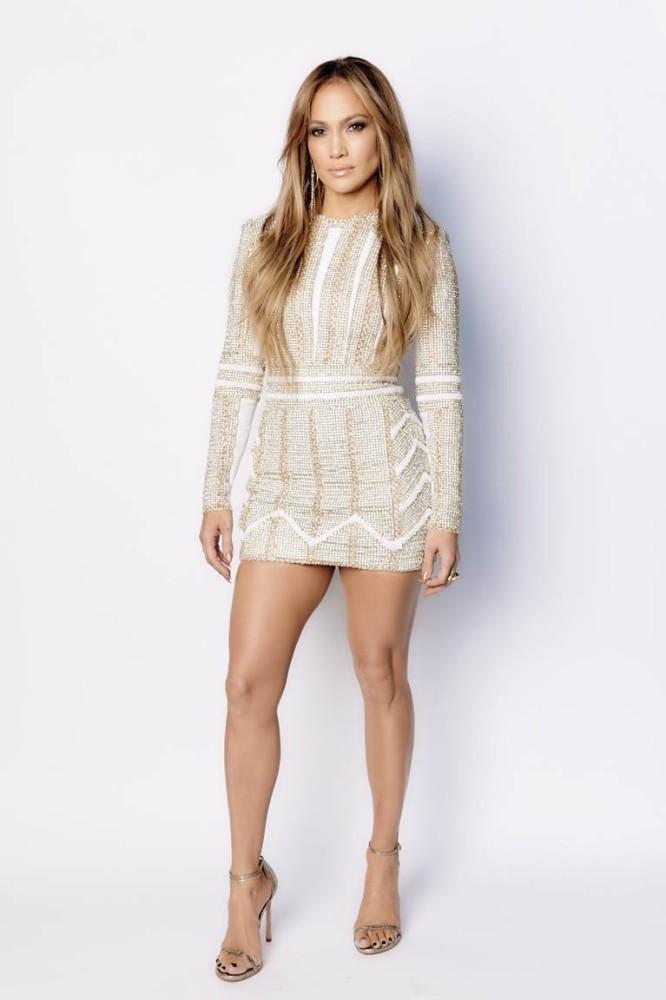 Jennifer-Lopezs-Nicolas-Jebran-Long-Sleeve-Beaded-Mini-Dress-