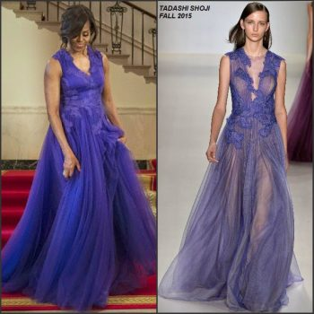 Michelle-Obama-in-Tadashi-Shoji-at-the-White-House-State-Dinner