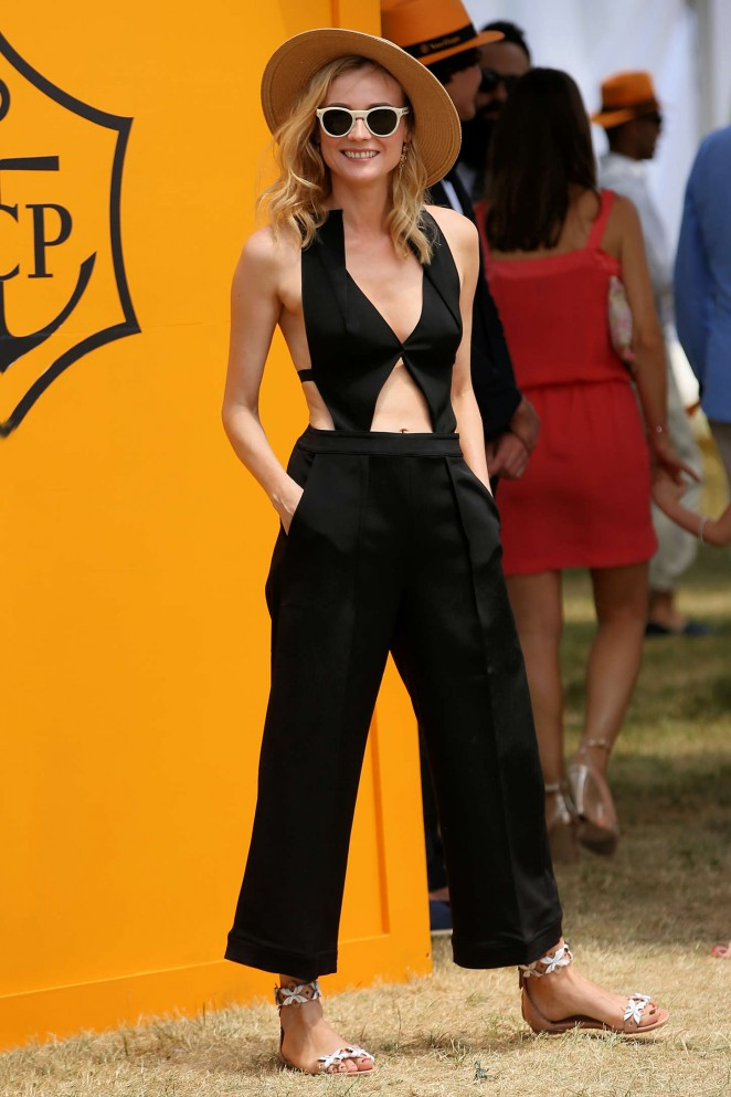 Diane Kruger in a black jumpsuit with cutouts at the 8th Annual Veuve Clicquot Polo Classic in New Jersey
