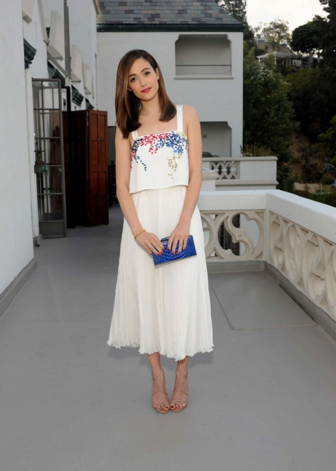 Emmy Rossum in a white ensemble at the Dinner To Celebrate Glamour's June Success Issue in LA