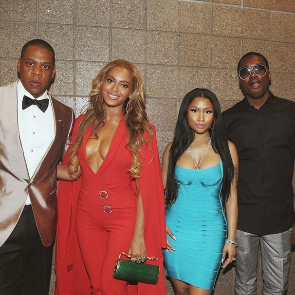 Jay-Z-and-Beyonce-with-Nicki-Minaj-and-Meek-Mill-at-Maywaether-Pacquiao-Fight-