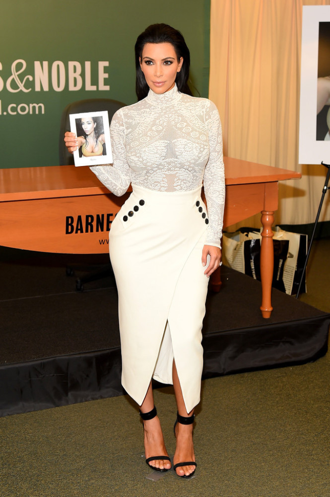Kim-Kardashians-Selfish-Book-Signing-Christian-Dior-Lacy-Bodysuit-White-Pencil-Skirt-and-Celine-Black-Sandals1-665x1000