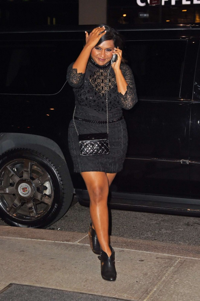 Mindy Kaling in a black Mini Dress Out in Soho