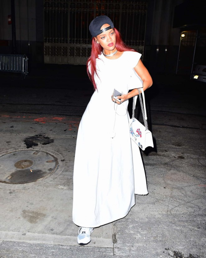 Rihanna in long white dress