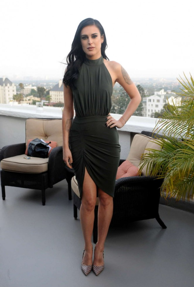 Rumer Willis in a body-con halter dress at the Dinner To Celebrate Glamour's June Success Issue in LA