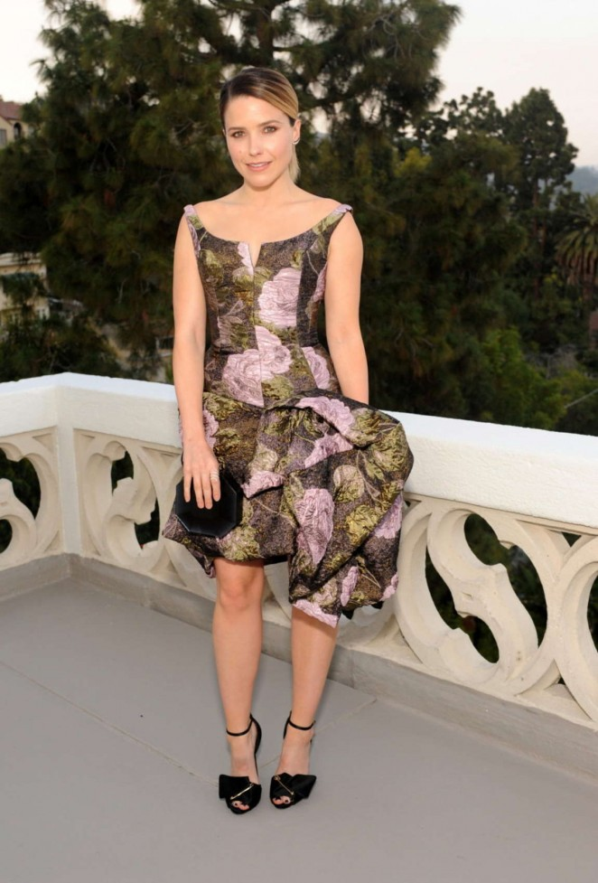 Sophia Bush in a floral dress at the Dinner To Celebrate Glamour's June Success Issue in LA