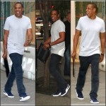 Jay Z  rocks  RocNation and Puma Sneakers   out in NYC