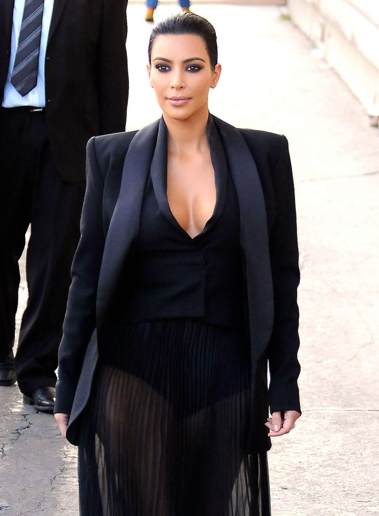 Kim-Kardashians-Jimmy-Kimmel-Balmain-Spring-2015-Black-Pleated-Sheer-Skirt
