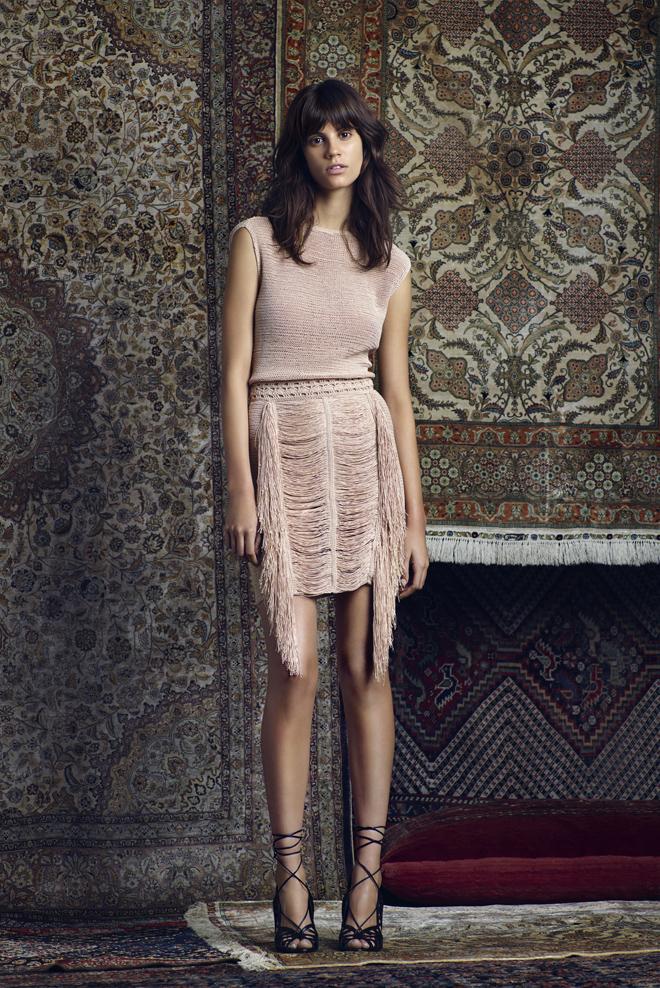 Kim-Kardashians-Dash-LA-Store-R13-Denim-Jacket-Magda-Butrym-Fringed-Knit-Top-and-Skirt-and-Aquazzura-Nude-Sandals