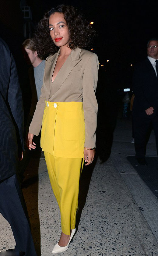 Solange-Knowless-NYC-Pride-Week-Kiehls-Event-Harbison-Fall-2013-Tan-Brown-and-Yellow-Colorblock-Blazer-Jacket-and-Matching-Pants