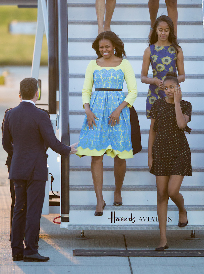 First-Lady-Michelle-Obama-Wears-Preen-by-Thornton-Bregazzi-Neon-and-Blue-Lace-Lou-Dress-for-Trip-to-the-UK