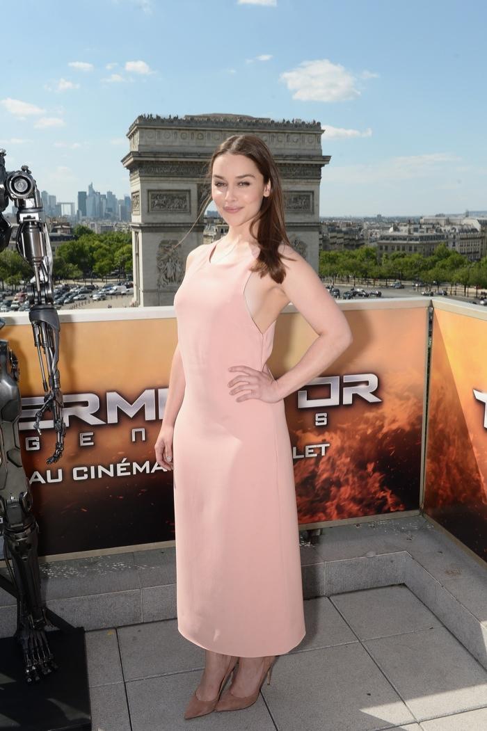 Emilia-Clarke-Pink-Calvin-Klein-Dress