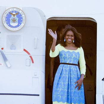 First-Lady-Michelle-Obama-Wears-Preen-by-Thornton-Bregazzi-Neon-and-Blue-Lace-Lou-Dress-for-Trip-to-the-UK-700×967