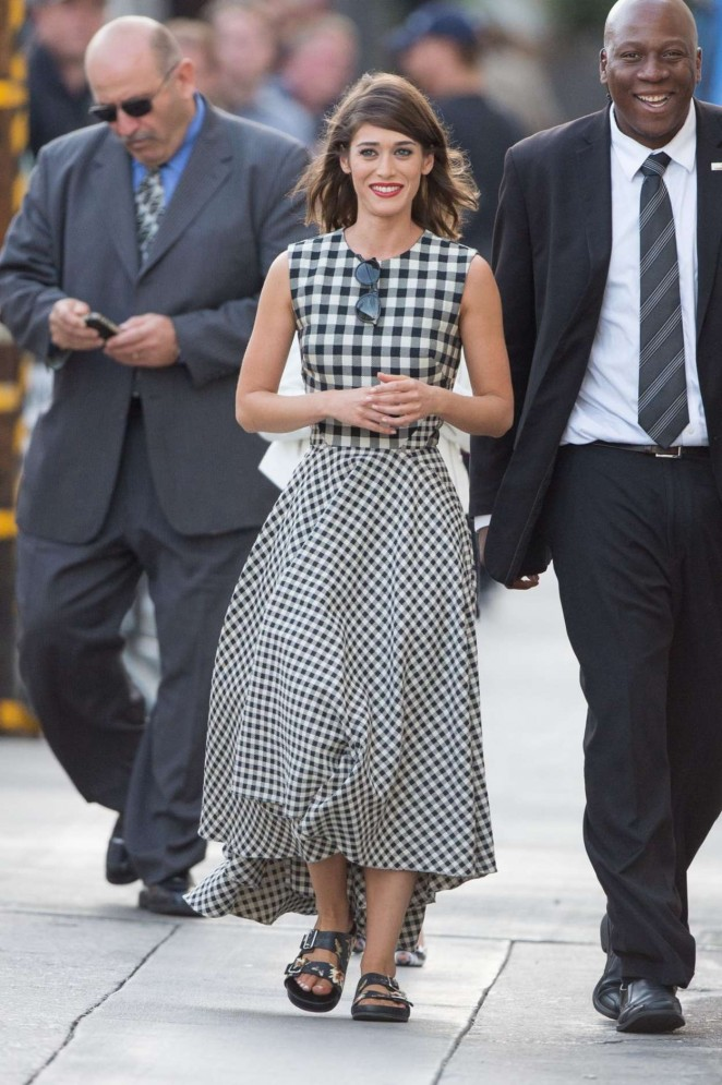 Lizzy-Caplan--Arrives-at-Jimmy-Kimmel-Live--
