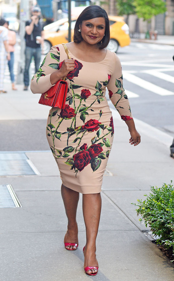 Mindy-Kaling-dolce-gabbana-rose-print-long-sleeve-round-neck-dress