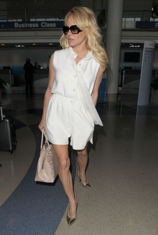 Pamela-Anderson-in-White-Dress-at-LAX-