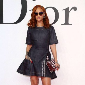 Rihannas-Dior-Fall-2015-Tokyo-Show-Custom-Dior-Denim-Dress-and-Dior-Resort-2016-Lace-Up-Boots