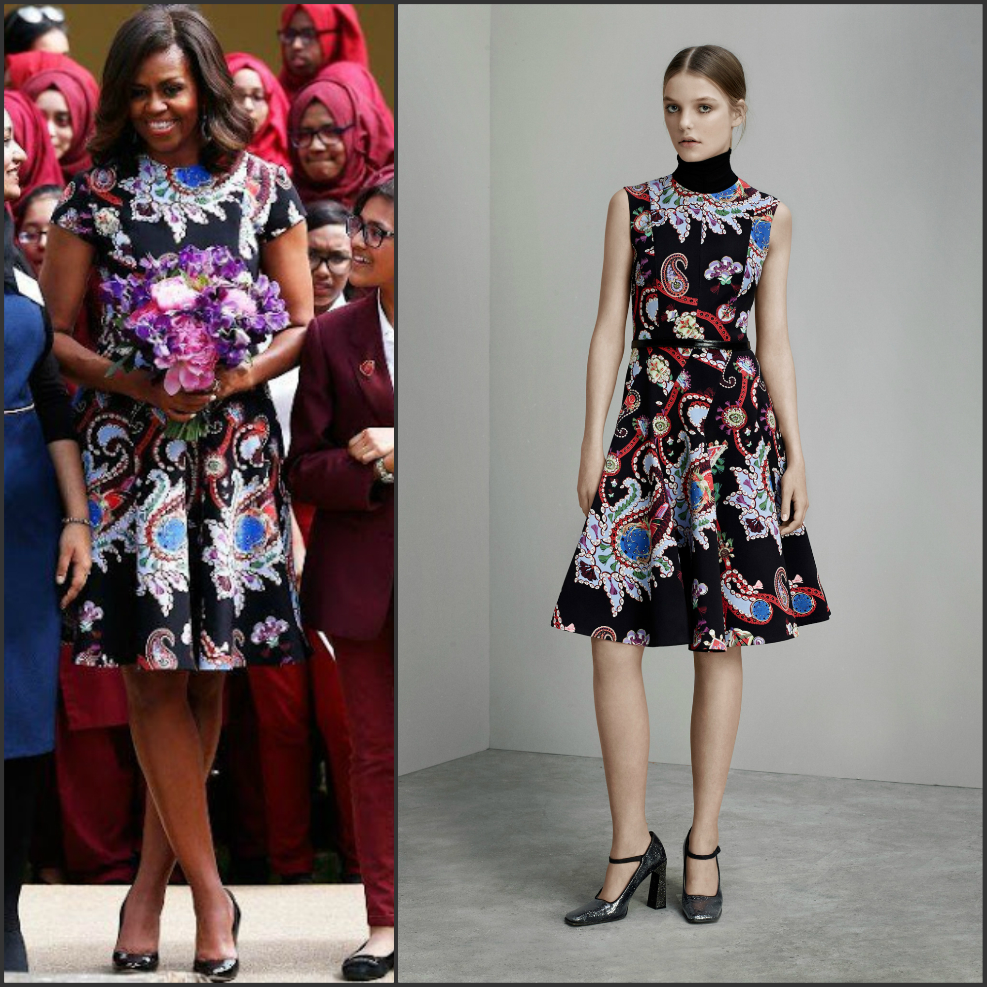 First Lady Michelle Obama in Mary Katrantzou at Mulberry School for Girls  -London