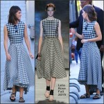Lizzy Caplan  In Lela Rose  at Jimmy Kimmel Live