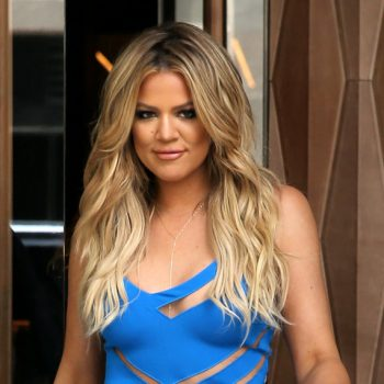 TV personality Khloe Kardashian, wearing a blue cut-out dress, leaves the Trump Soho Hotel for Book Con in New York City, NY on May 31, 2015