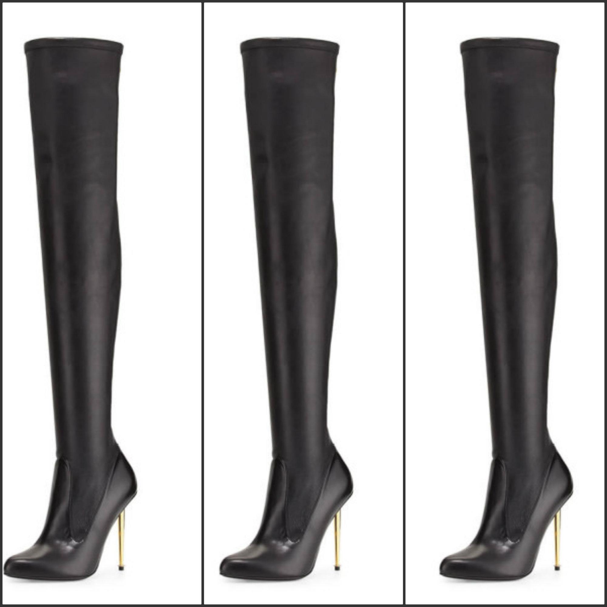 in lyst shoes black heels tom sandals plisse ford pliss satin