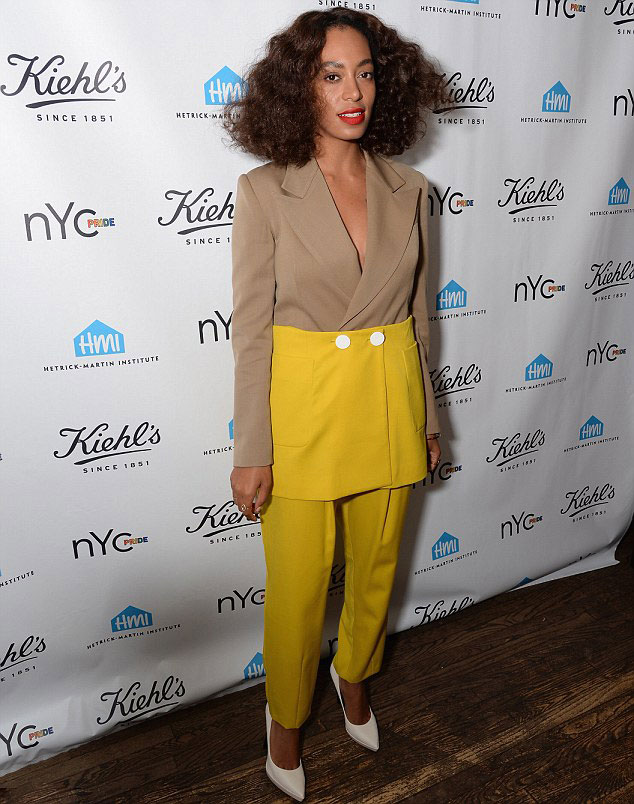 solange-knowles-pride-nyc-kiehls-event-harbison-brown-and-yellow-colorblock-blazer-and-matching-pants1