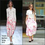Victoria Beckham  in  floral Victoria Beckham  skirt – Out in  New York