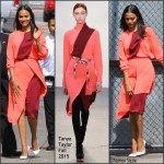Zoe Saldana In Tanya Taylor  at Jimmy Kimmel Live