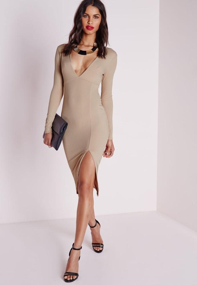 Beyonce-New-York-City-Self-Portrait-Camel-Ribbed-Knit-Side-Slit-Dress-690x1000