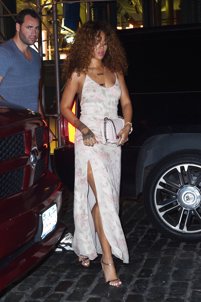 Rihanna In Reformation Mercer Kitchen Restaurant In New