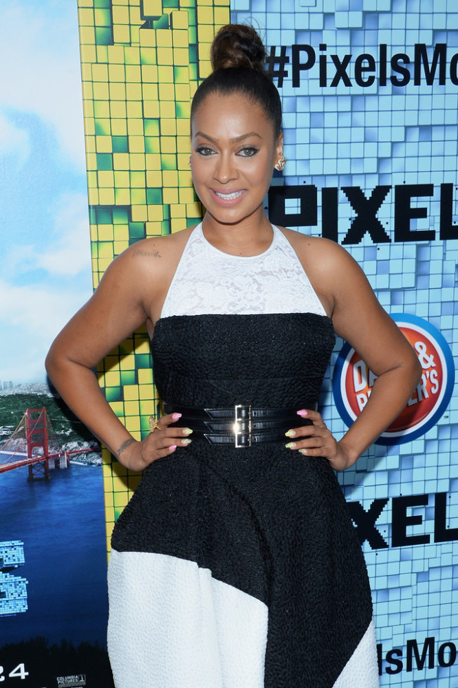 Lala-Anthonys-Pixels-Premiere-J.-Mendel-Black-and-White-Dress-and-Neon-Christian-Dior-Pumps-