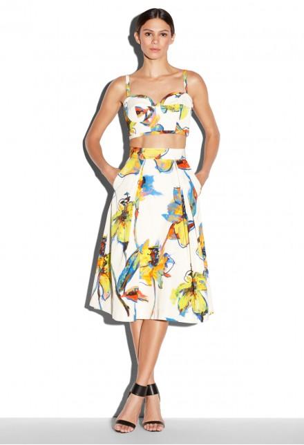 Jennifer-Lopezs-East-Hampton-Birthday-Celebration-Milly-Pop-Art-Floral-Print-Bustier-Top-Shorts-and-Giuseppe-Zanotti-Blue-Sandals