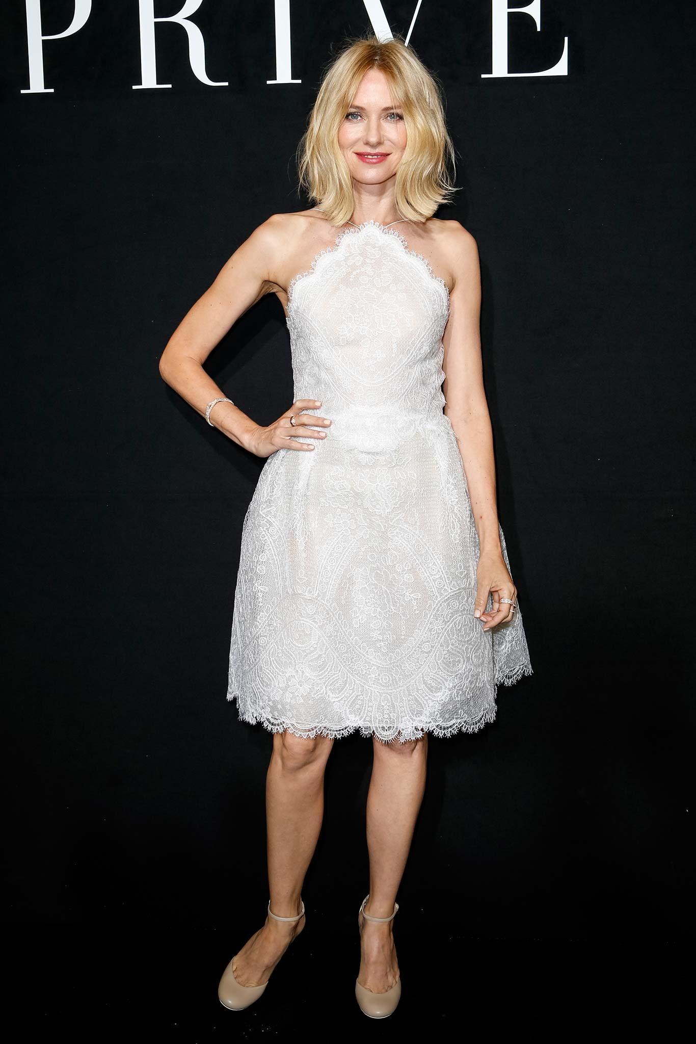 Naomi Watts wore a white Giorgio Armani embroidered lace dress styled ...
