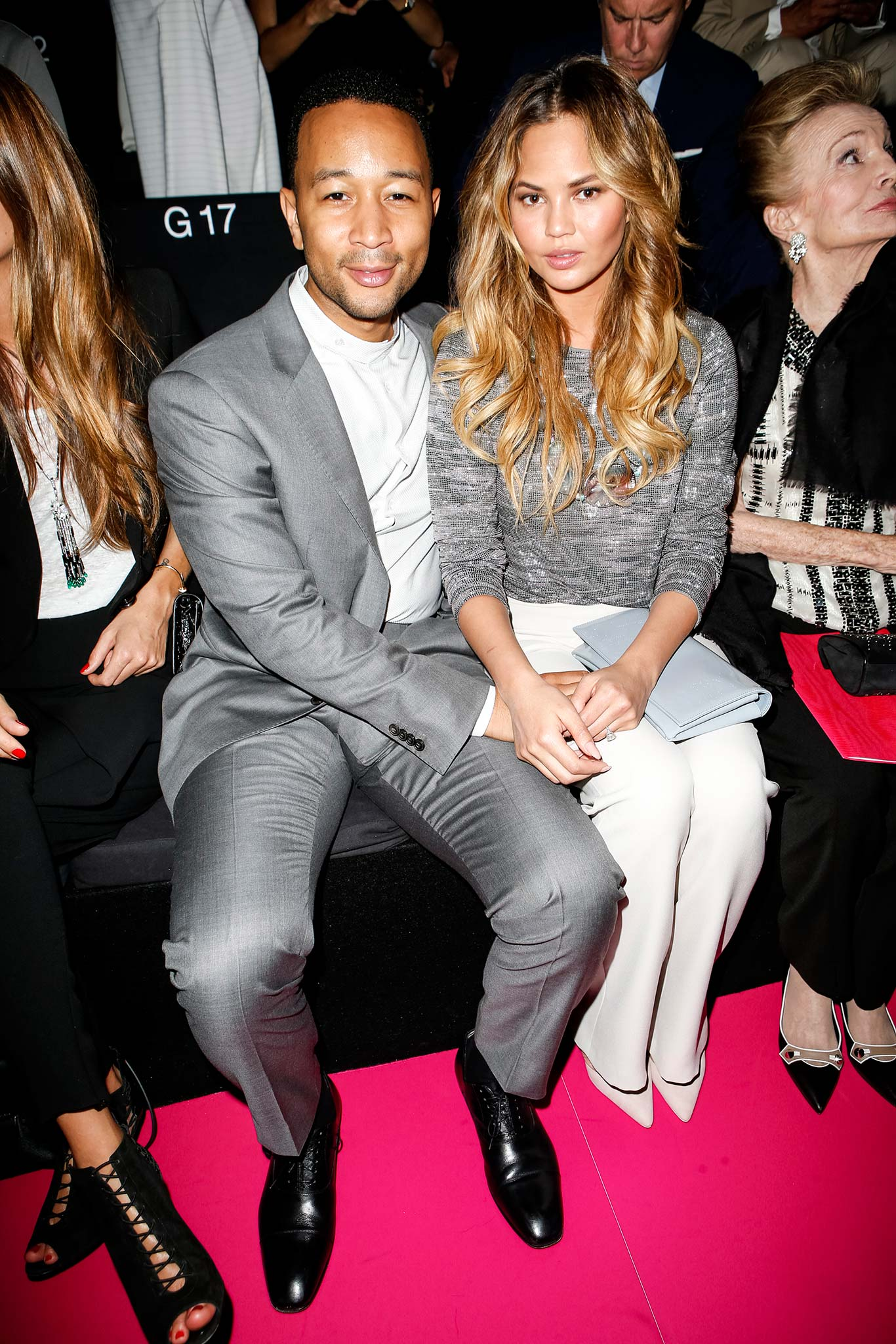 John- Legend- and -Chrissy -Teigen-armani-prive-fall-2015-front-row