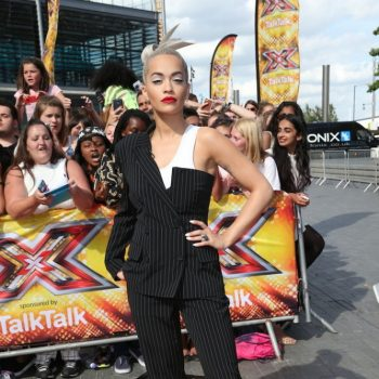 Rita-Oras-X-Factor-London-Auditions-Jean-Paul-Gaultier-Spring-2015-Pinstripe-Half-Blazer-and-Pants-Suit-667×1000-1