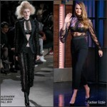 Cara Delevingne In Alexander McQueen  at  Late Night with Seth Meyers