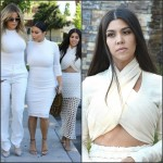 Kim, Khloe & Kourtney Kardashian  dressed in  White
