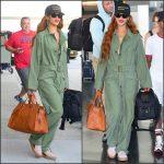 Rihanna  in  in vintage jumpsuit Jfk airport