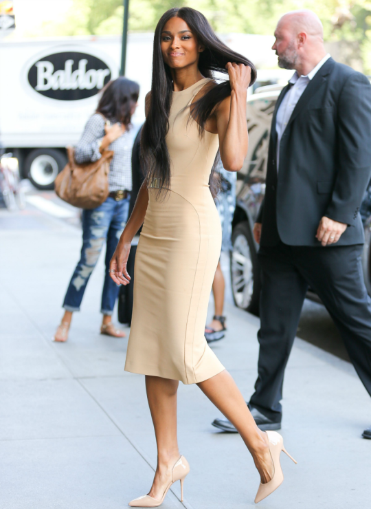 0-Ciaras-Live-with-Kelly-Michael-David-Koma-Nude-Belted-Shift-Her-Striped-Ruffled-Dress