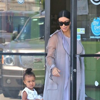 Pregnant Kim Kardashian heads to a birthday party with daughter North and niece Penelope Disick