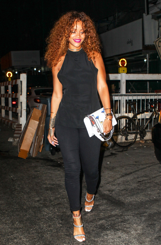Rihanna In Ann Demeulemeester Out In New York