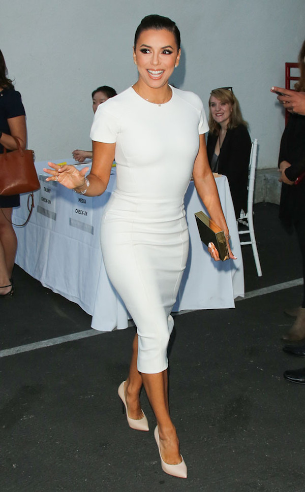 Eva-longoria-hollyrod-gala-white-victoria-beckham-short-sleeve-midi-dress-casadei-blade-pumps