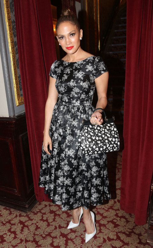 Jennifer-Lopezs-Hamilton-Musical-Dolce-Gabbana-Cap-Sleeve-Mini-Floral-Print-Dress