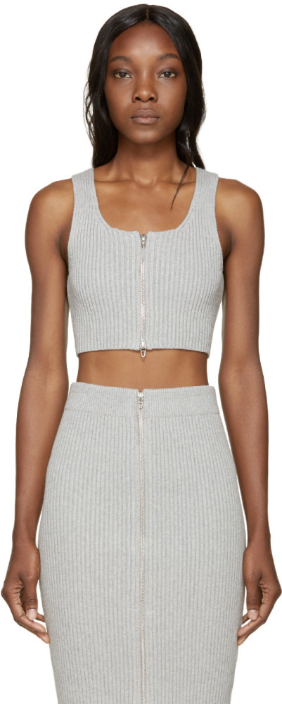 Lala-Anthony-s-Ranbeeri-Denim-Launch-Party-T-by-Alexander-Wang-Ribbed-Zip-Gray-Crop-Top-and-Matching-Pencil-Skirt