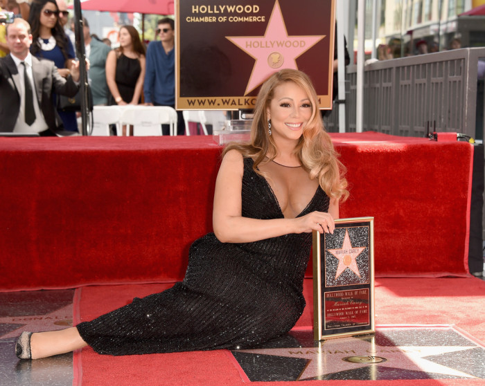 Mariah-Careys-Hollywood-Walk-of-Fame-Yousef-Aljasmi-Black-Sequined-Gown-700x558