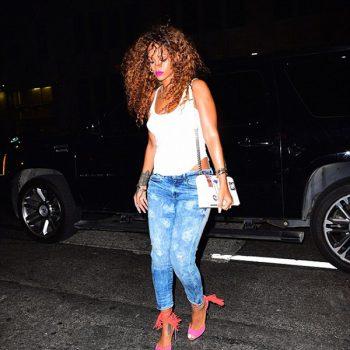 Rihannas-New-York-City-Dior-Resort-2016-White-Multicolored-Diorama-Handbag-and-Pierre-Hardy-Majorelle-Pink-and-Orange-Fringed-Sandals