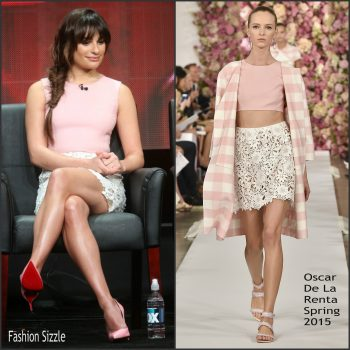 lea-michele-in-oscar-de-la-renta-scream-queens-2015-summer-tca-tour-panel